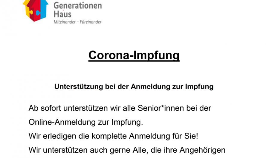 Das Mehrgenerationenhaus in Waldfischbach-B. unterstützt Senioren/innen bei der Registrierung zur Impfung